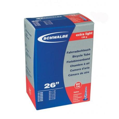 Cámara de aire SCHWALBE EXTRA LIGHT SV20 700x18/25c Presta 60mm