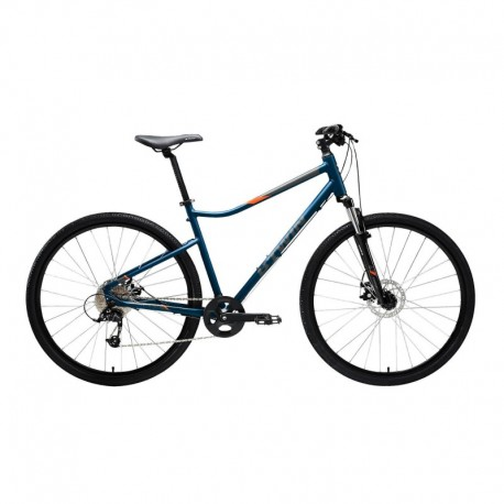Bicicleta de Trekking RIVERSIDE 500 Azul/Naranja